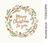 christmas and new year's wreath ... | Shutterstock .eps vector #753463390
