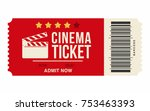 cinema ticket isolated on white ... | Shutterstock .eps vector #753463393