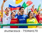 happy supporters from different ... | Shutterstock . vector #753464170
