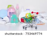 shopping cart with baby... | Shutterstock . vector #753469774