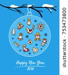 happy new year 2018 card with... | Shutterstock .eps vector #753473800