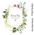 card  watercolor invitation... | Shutterstock . vector #753476404