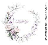 vintage card  watercolor... | Shutterstock . vector #753477214