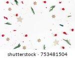christmas composition. frame... | Shutterstock . vector #753481504