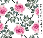 seamless pattern with red roses ...   Shutterstock . vector #753485824
