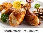 grilled chicken drumsticks with ... | Shutterstock . vector #753489094