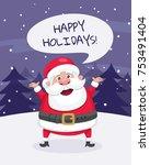 christmas greeting card. santa... | Shutterstock .eps vector #753491404
