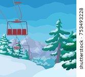 ski lift with cartoon fir trees ... | Shutterstock .eps vector #753493228