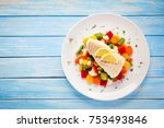 fish dish   fried fish fillet... | Shutterstock . vector #753493846