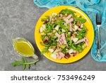 fresh salad with turkey ham ...   Shutterstock . vector #753496249