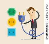 businessman with plug and... | Shutterstock .eps vector #753497140