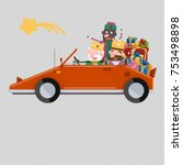 magic kings  driving a red car... | Shutterstock . vector #753498898