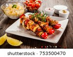 kebab   grilled meat and... | Shutterstock . vector #753500470