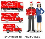 christmas and new year delivery.... | Shutterstock .eps vector #753504688