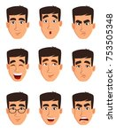 face expressions of a business... | Shutterstock .eps vector #753505348