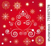 christmas and new years red... | Shutterstock .eps vector #753507178