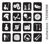 archeology icons. grunge black... | Shutterstock .eps vector #753508588