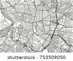 black and white vector city map ... | Shutterstock .eps vector #753509050