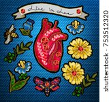 embroidery in the form of heart ... | Shutterstock .eps vector #753512320