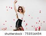 emotional girl in short black... | Shutterstock . vector #753516454