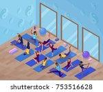yoga studio interior with woman ... | Shutterstock .eps vector #753516628