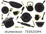 background with kitchen tools.  ... | Shutterstock .eps vector #753525394