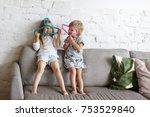 candid shot of two mischievous... | Shutterstock . vector #753529840