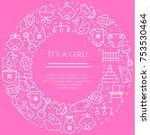 baby theme horizontal banner.... | Shutterstock .eps vector #753530464