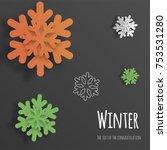 vector volumetric snowflakes 3d ... | Shutterstock .eps vector #753531280