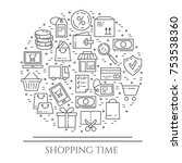 shopping banner with violet... | Shutterstock .eps vector #753538360
