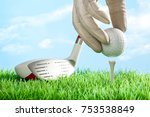 series of golfing equipment... | Shutterstock . vector #753538849