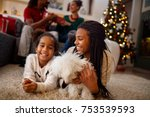 two little sisters are playing... | Shutterstock . vector #753539593