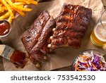 a rack of delicious baby back... | Shutterstock . vector #753542530