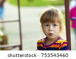 little girl with funny... | Shutterstock . vector #753543460