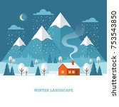 winter landscape with country... | Shutterstock .eps vector #753543850