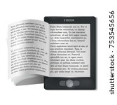 e book reader with flipping... | Shutterstock .eps vector #753545656