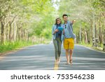 young couple of tourists in... | Shutterstock . vector #753546238