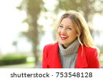 funny woman wearing a red... | Shutterstock . vector #753548128