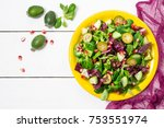 fresh salad with cucumbers ... | Shutterstock . vector #753551974