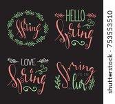 handwritten calligraphic spring ... | Shutterstock . vector #753553510