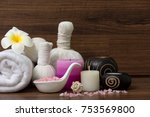 beautiful spa composition on... | Shutterstock . vector #753569800