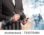 business man working with a... | Shutterstock . vector #753570484
