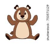 cute bear cartoon icon vector... | Shutterstock .eps vector #753571129