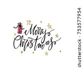 merry christmas postcard with... | Shutterstock .eps vector #753577954