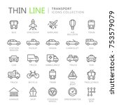collection of transport line... | Shutterstock .eps vector #753579079