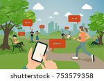 people hanging in the park with ...   Shutterstock .eps vector #753579358