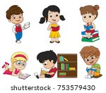 set of kid reading a book... | Shutterstock .eps vector #753579430
