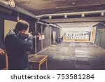man with weapon try positions...   Shutterstock . vector #753581284