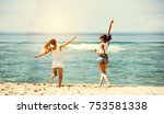 two happy girls friends are... | Shutterstock . vector #753581338