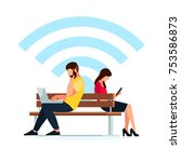 wi fi concept. couple young...   Shutterstock .eps vector #753586873
